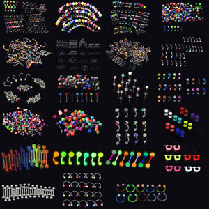14g-16g-Wholesale-Bulk-lots-Body-Piercing-Eyebrow-Jewelry-Belly-Tongue-Bar-Ring