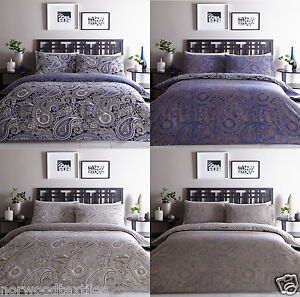 Topaz Paisley Blue Navy Or Natural Duvet Quilt Cover