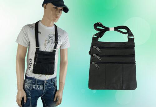 20 Tasche Brusttasche Brustbeutel Ausweistasche Echt Leder Schwarz 22 cm