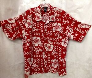Men-039-s-Gap-Hawaiian-Shirt-Red-And-White-Flowered-Size-XL