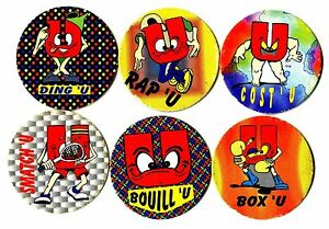 POGS-E-MAR-U6-001-Lot-de-6-Pogs-PUB-PUBLICITAIRE-ADVERTISING-MARCHE-U-Uses
