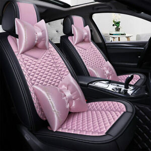 5d Winter Car Seat Cover Pu Leather Gift For Women Girl 5 Seats