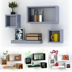 Set-Of-4-Wooden-Floating-Cube-Shelves-Wall-Hanging-Storage-Display-Deco-Shelving
