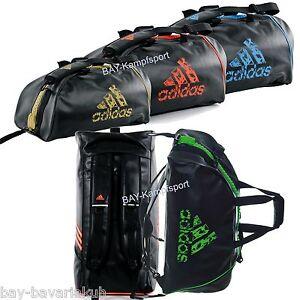 Das Bild wird geladen adidas-PU-LEDER-Trainingstasche-schwarz-gold-gruen- Rucksack- 8a3f36400b