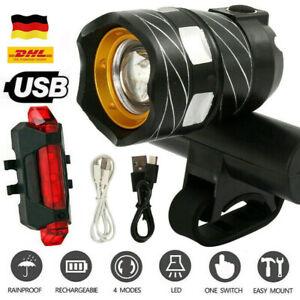 Heller LED Fahrrad Vorne Scheinwerfer USB Aufladbar Und Rückleuchte Set
