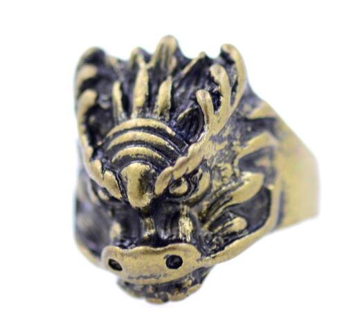 UK Taille M Anneau de tête de dragon style rétro vintage