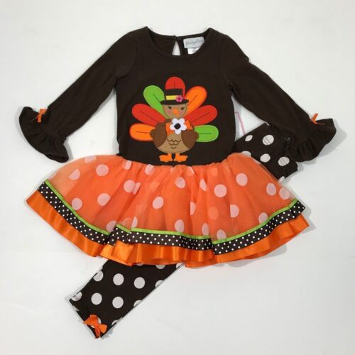Emily Rose NWT 2T 4 5 Boutique Turkey Dress Legging Outfit Thanksgiving Fall Dot