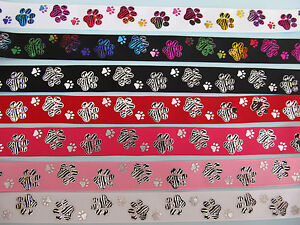 Grosgrain-Double-Dog-Paw-Print-Dog-Collar-Ribbon-7-8-034-22mm-DIFFERENT-COLOURS