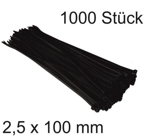 1000 Stück DKB Kabelbinder 2,5 x 100 mm Nylon Binder Elektrozubehör schwarz