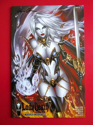 LADY DEATH MERCILESS ONSLAUGHT #1 EBAS Premiere variant SIGNED PULIDO wCOA NM