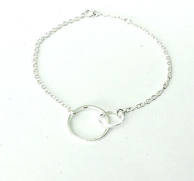"""925 Sterling Silver Double Linked Circles Bracelet - Adj 6.5"""" - 7"""" Gift Boxed"""
