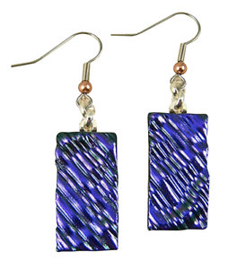 "Dichroic Glass Earrings Purple Violet Ripple 1"" Rectangle Dangle Surgical Wire"