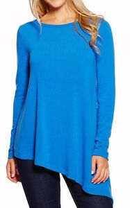 Karen Kane Royal Blue L/S Asymmetrical Pullover Tunic Sweater Top ...