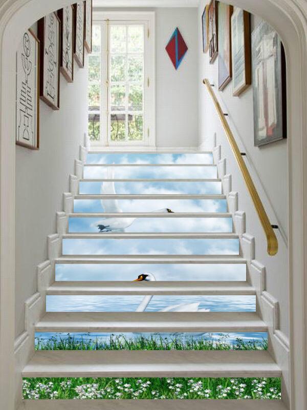 3D Schwan 235 Stair Risers Dekoration Fototapete Vinyl Aufkleber Tapete DE