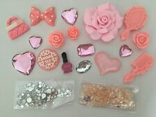 DIY PINK Anna Sui Bling Cell Phone Case Flatback Cabochon Pearl Deco Kit Lot