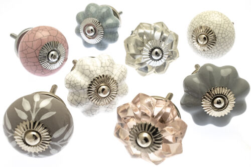 Barely There neutrals dans Soft Gentle Tonès Set of 8 ceramic//Glass Cupboard Knobs