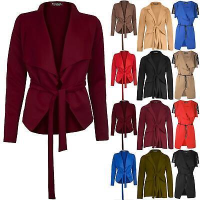 Selbstbewusst, Befangen, Gehemmt, Unsicher, Verlegen Ladies Womens Long Sleeve Tie Knot Belt Waterfall Cape Blazer Jacket Cardigan