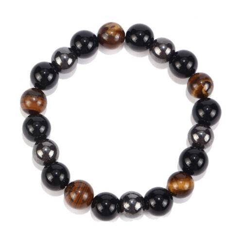 CN/_ Tiger Eye Beads Charm Bracelet Hematite Black Rock Agate Stone Bracelet Ch