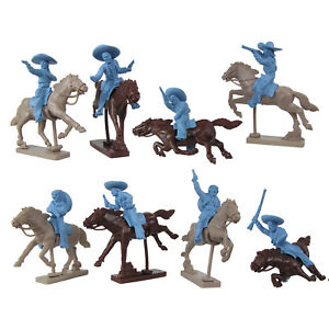 LOD-MEXICAN-BANDITS-COWBOYS-8-Plastic-Toy-Soldiers-with-Horses-1-32-FREE-SHIP
