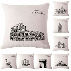 Sofa-Cushion-Vintage-Attractions-Cover-Case-World-Travel-Linen-Pillow-Cotton