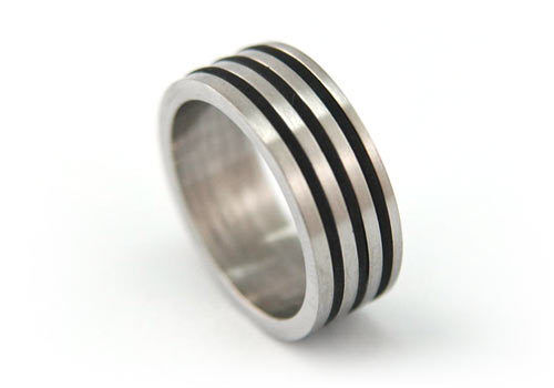2 Tone Solid Stainless Steel Hip Hop Men Ring MR015