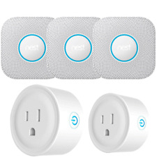 Google Nest Protect Smoke and CO Alarm, Battery, 3-Pack White w/ 2 Smart Plugs