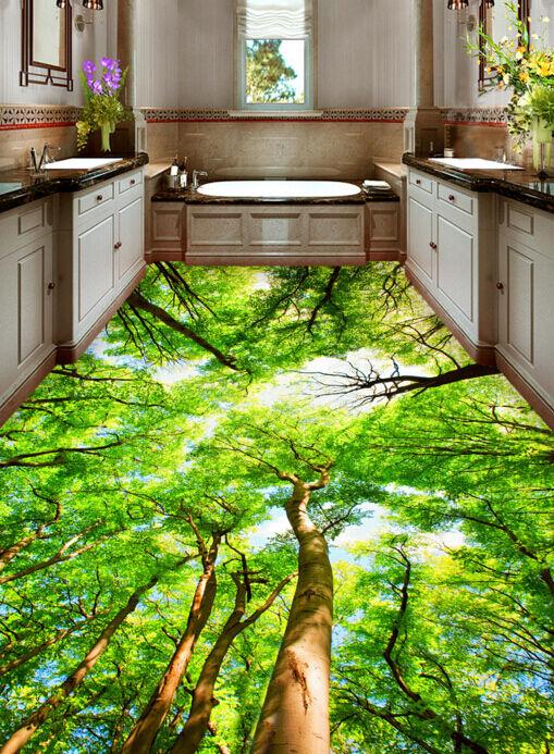 3D Lush Tree Sunshine Floor WallPaper Murals Wall Print Decal 5D AJ WALLPAPER