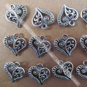 40pcs-Tibetan-Silver-Heart-shaped-Dangle-Charm-Beads-14-15mm-Wholesale-P003