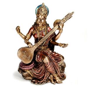 SARASWATI-STATUE-5-75-034-Hindu-Goddess-Deity-HIGH-QUALITY-Bronze-Resin-India-NEW