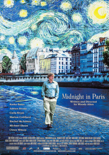 Reproduction Movie Cinema Poster Art A4 A3 MIDNIGHT IN PARIS 2011 Woody Allen