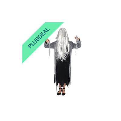 Zombiekostüm  Mädchen Teens Geister Kleid mit Kapuze und weißen Haaren