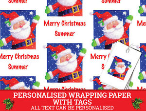 santa personalised christmas wrapping paper xmas gift wrap