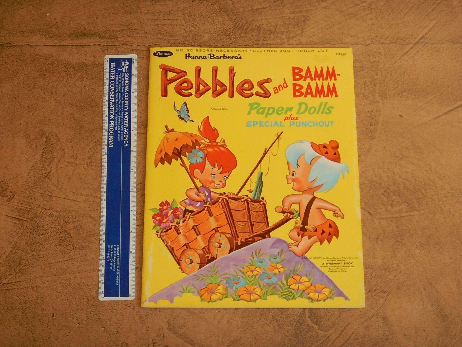 1966 HANNA BARBERA PEBBLES AND BAMM-BAMM PAPER DOLLS BOOK  HIGH GRADE UNUSED