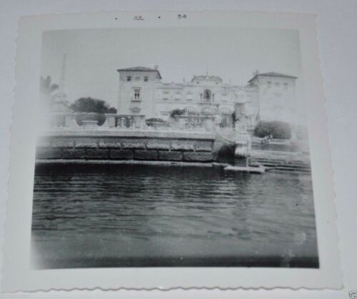 "Vintage 1954 Mansion Ocean Miniature Eiffel Tower Black & White 3.5"" Photograph"