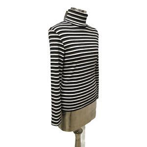 Poppy Cotton Top T-Shirt Grey Black UK M 12 (EU40) NEW Roll Neck Women's RRP £26