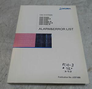 Okuma CNC Systems Alarm & Error List Manual, LE37-005, Used