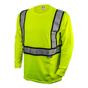 DEWALT-DST921-Class-2-Modacrylic-Fr-Long-sleeve-T-Shirt-Hi-Viz-Green