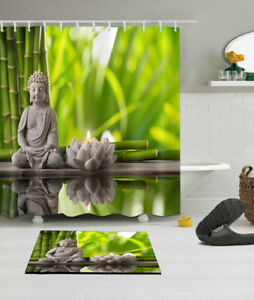 Image Is Loading Buddha SPA Zen Fabric Bathroom Waterproof Shower Curtain