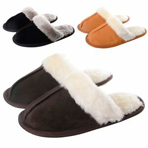 Ladies-Julia-Real-Suede-Leather-Womens-Slippers-Non-Slip-Sole-Soft-Plush-Lining