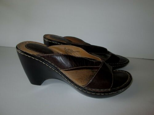 Brown's Landing BROWN LEATHER STRAPPY WEDGE SHOES