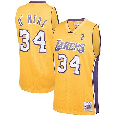Los Angeles Lakers Shaquille O'Neal Mitchell Ness Gold 1999-00 Swingman Jersey   eBay
