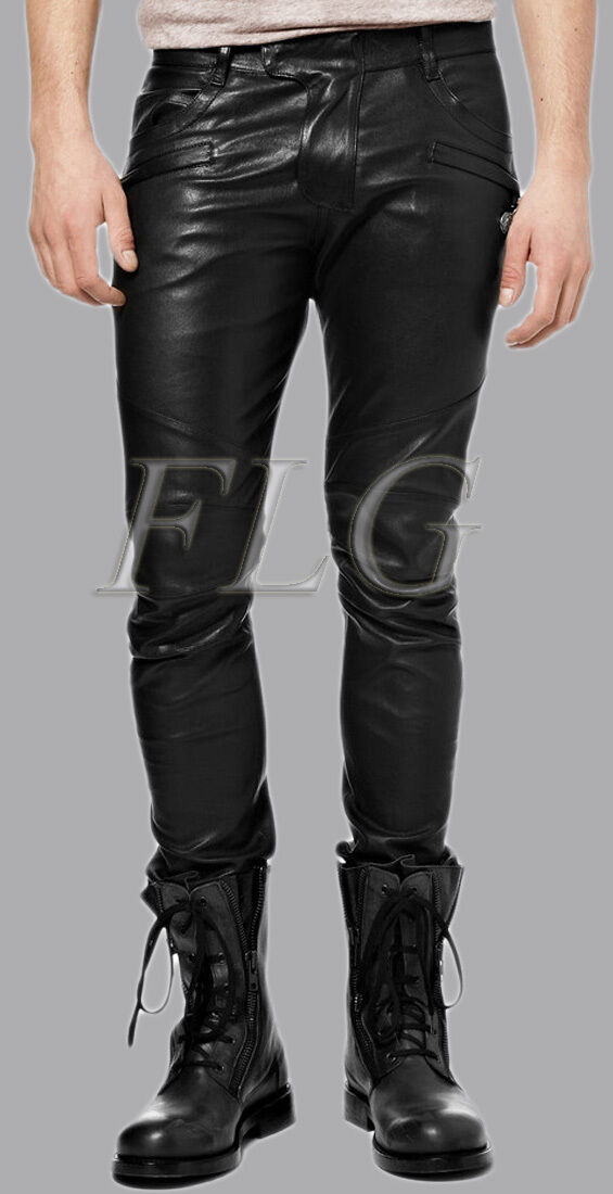 MENS GENUINE LEATHER JEANS THIGH FIT  LUXURY PANTS TROUSERS 10D 36 WAIST