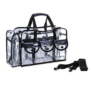 bf01f761bcd6 Details about Clear PVC Travel Makeup Cosmetic Bag with 6 External Pockets  and Shoulder Strap