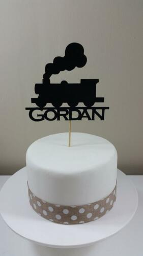 Birthday Personalised Train Silhouette Card Cake topper