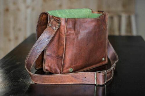 """18/"""" Men/'s Natural Vintage Brown Leather Messenger Shoulder Briefcase Laptop Bag"""
