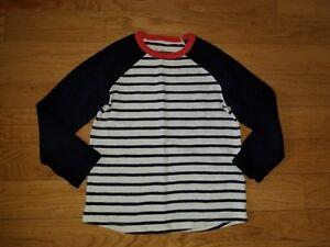 Boys-MINI-BODEN-Navy-Creme-Striped-Long-Sleeve-SHIRT-Tee-Sz-6-7-EXCELLENT-Cond
