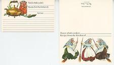 1 VINTAGE KITCHEN WITCHES BROOM CARD 1 TEAPOT TEA POT APRICOT FRUIT RECIPE PRINT
