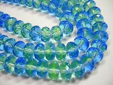 25 Sapphire Blue and Peridot Green Czech Glass Rondelle Beads 8x6mm