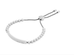70ef8bae7f73 Michael Kors Women's Silver MK Logo Plaque Adjustable Beaded ...