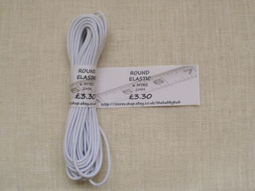 V.HIGH QUALITY. Wht.Hat /& Bungee Elastic Round Cord Elastic.1mm,2mm,3mm.Blk